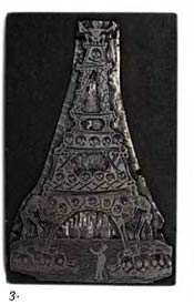 "3. Printing plate - ""Eiffel Tower of Calaveras"" Lead engraving (19th century) - Artist: Attributed to M Manilla"